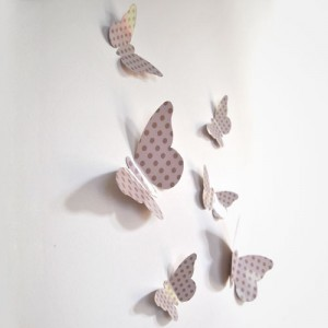 "Sticker papillon relief ""Pois beige"""
