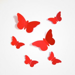 Sticker papillon relief rouge
