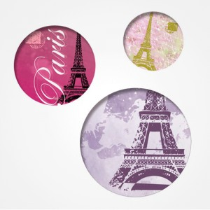 "Trio de badges ""Paris"""