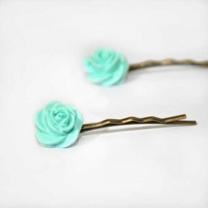 "Barrettes roses""menthe glacée"""