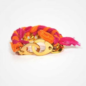"Bracelet ""Bling-bling"" Menottes rose-orange"